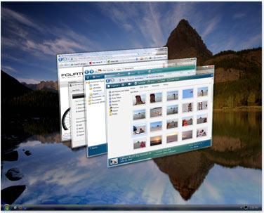 Просмотр открытых окон с помощью функции Flip 3D