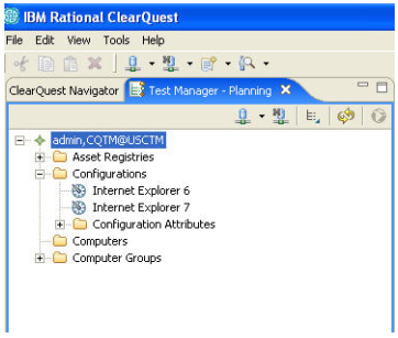 Screen shot shows Rational ClearQuest setup environment