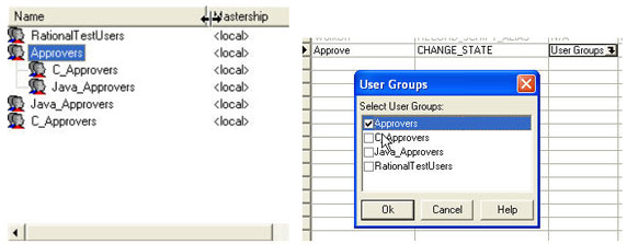 Figure shows a screen where a high level approvers group allows sub-groups to be nested within it.
