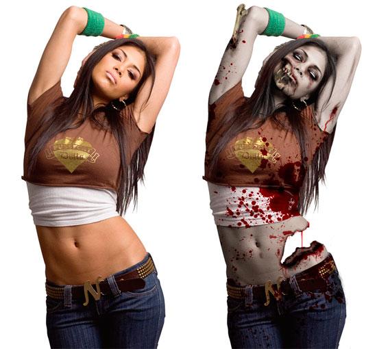 Как в фотошопе сделать себя зомби