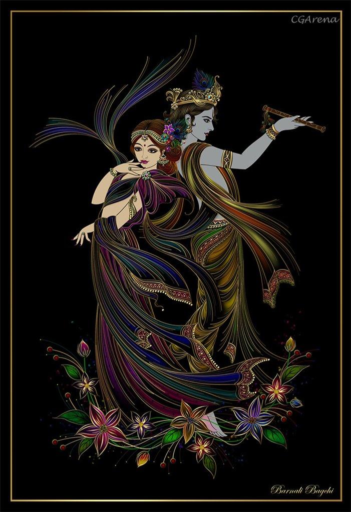 Рисуем танец Кришны и Рэдхи *