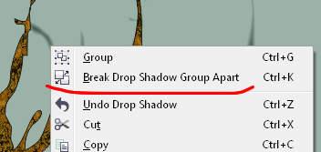 Break Drop Shadow Group Apart - Corel DRAW