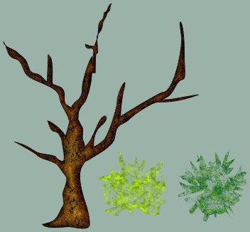 дерево и варианты листьев в Corel DRAW