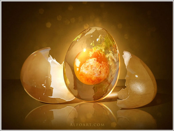 Уроки photoshop яйцо планета