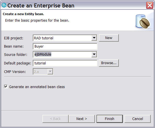 Информация в окне Create a new Entity bean