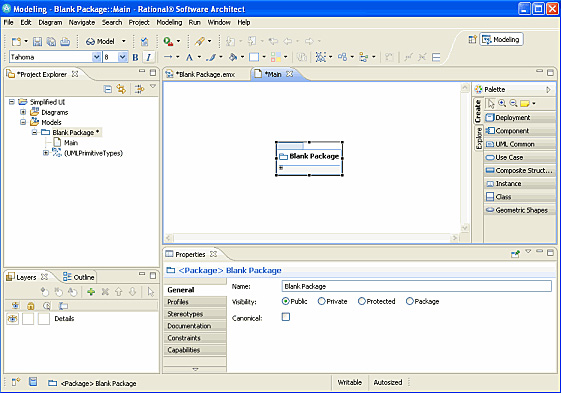 Рисунок 8. Первоначальный вид Rational Software Architect с упрощенным интерфейсом