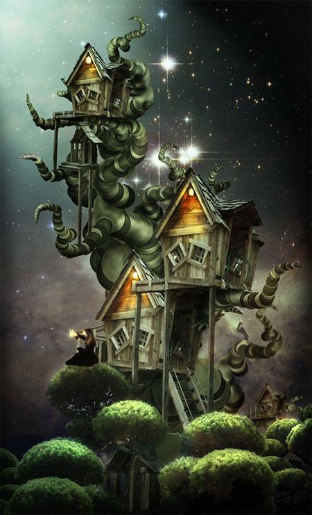домик на дереве в Фотошоп
