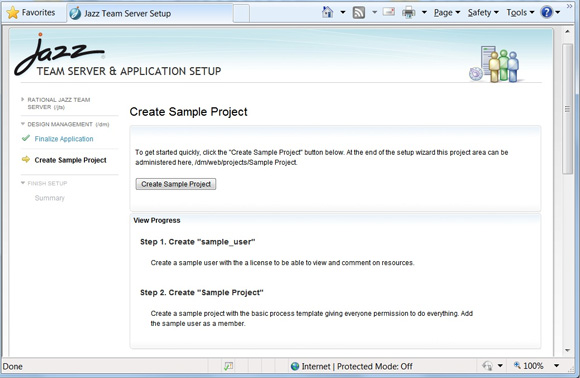 Рисунок 2. Шаг Create Sample Project