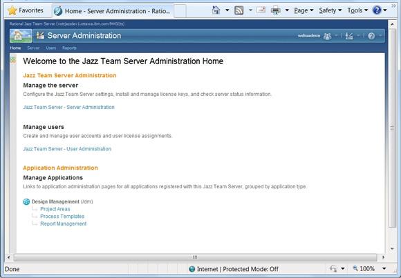 Рисунок 3. Страница Server Administration содержит раздел Application Administration