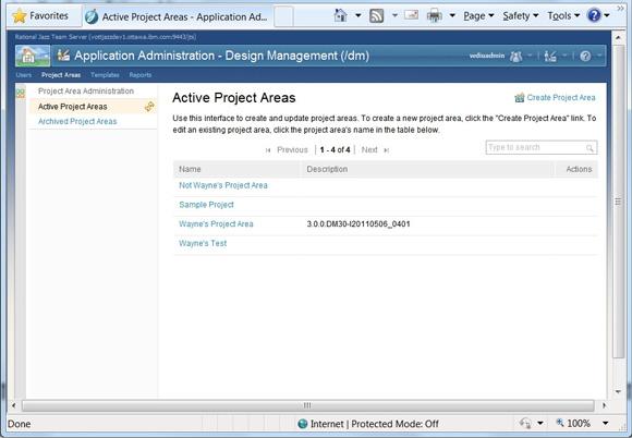 Рисунок 4. Страница Active Project Areas, доступная по ссылке Project Areas на странице администрирования Jazz Team Server