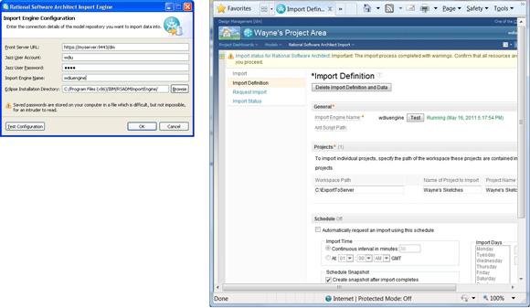 Рисунок 9. Название механизма импорта, wdiuengine, на страницах Import Configuration details и Import Definition