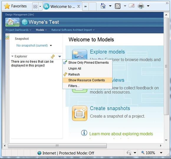 Рисунок 16. Элементы меню Show Resource Contents и Filters