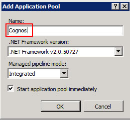 Figure 3 - Add Application Pool dialog from the IIS Manager console