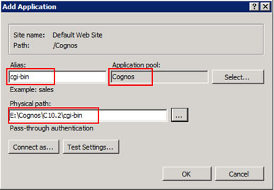 Figure 6 - Add application window from the IIS Manager console