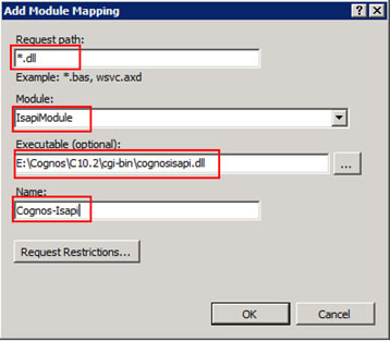 Figure 7 - Add module mapping dialog from the IIS Manager console