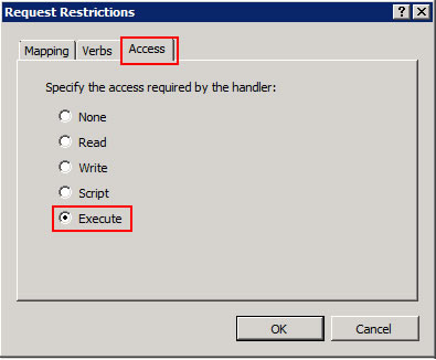 Figure 8 - Request restrictions window for the Module Mapping showing Execute selected under the Access tab