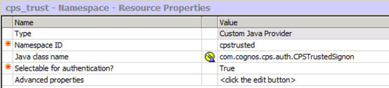 Figure 9 - Setting up the CPS security namespace in IBM Cognos Configuration