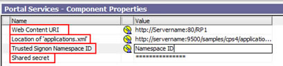Figure 10 - The Portal Services properties section in IBM Cognos Configuration