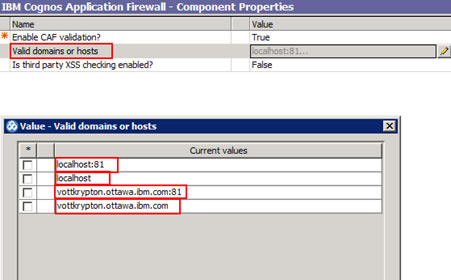 Figure 11 - Setting valid domains or hosts in the IBM Cognos Application Firewall properties section in IBM Cognos Configuration