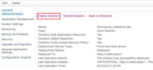 Figure 14 - Selecting the Deploy Solution option in SharePoint Central Administration