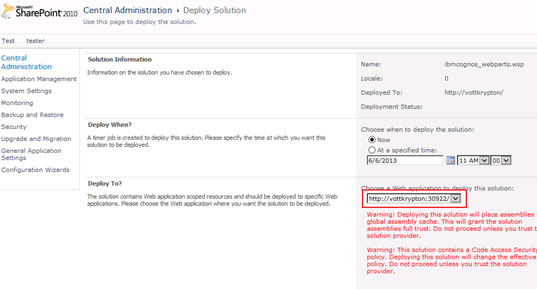 Figure 15 - Selecting the SharePoint site to deploy a solution to using SharePoint Central Administration