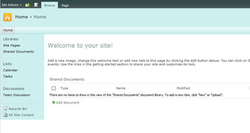 Figure 16 - The home screen on the SharePoint Main site