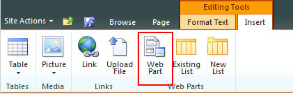 Figure 19 - Select the Web Part to insert into the new Cognos page