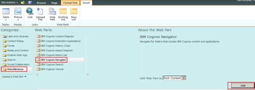 Figure 20 - Selecting the IBM Cognos Navigator Web Part from the Miscellaneous folder and adding it to the new Cognos page