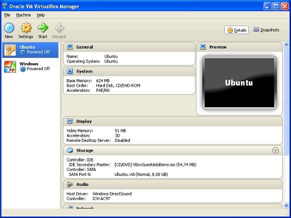 Главное окно VirtualBox.