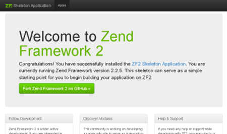 Zend Framework 2 skeleton application welcome page