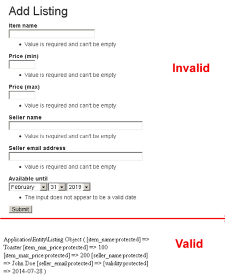 Form validation and submission