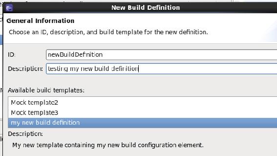 Рисунок 1. Снимок экрана со списком Available build templat