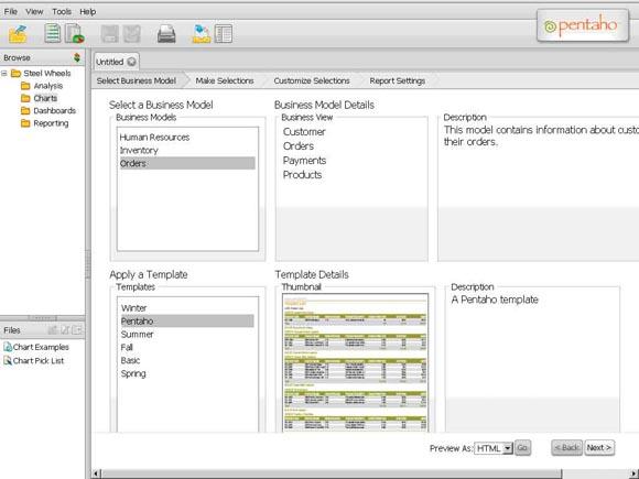 Рисунок 2. Мастер создания отчетов: выбор данных и шаблона отчета