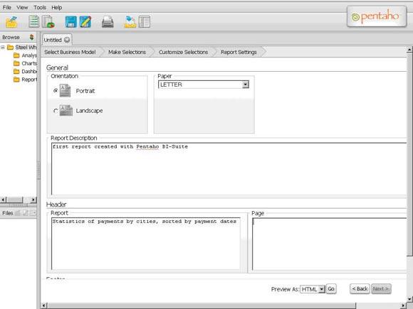 Рисунок 5. Мастер создания отчетов: установка параметров отчета