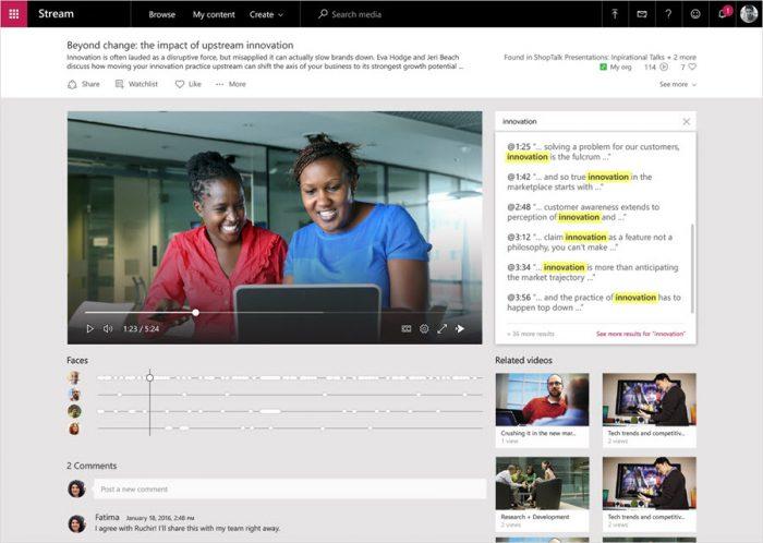 Microsoft Stream может распознавать лица, преобразовывать речь в текст и выполнять другие функции, повышающие продуктивность.