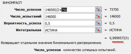 БИНОМРАСП(146000/2+750;146000;0,5;ИСТИНА)