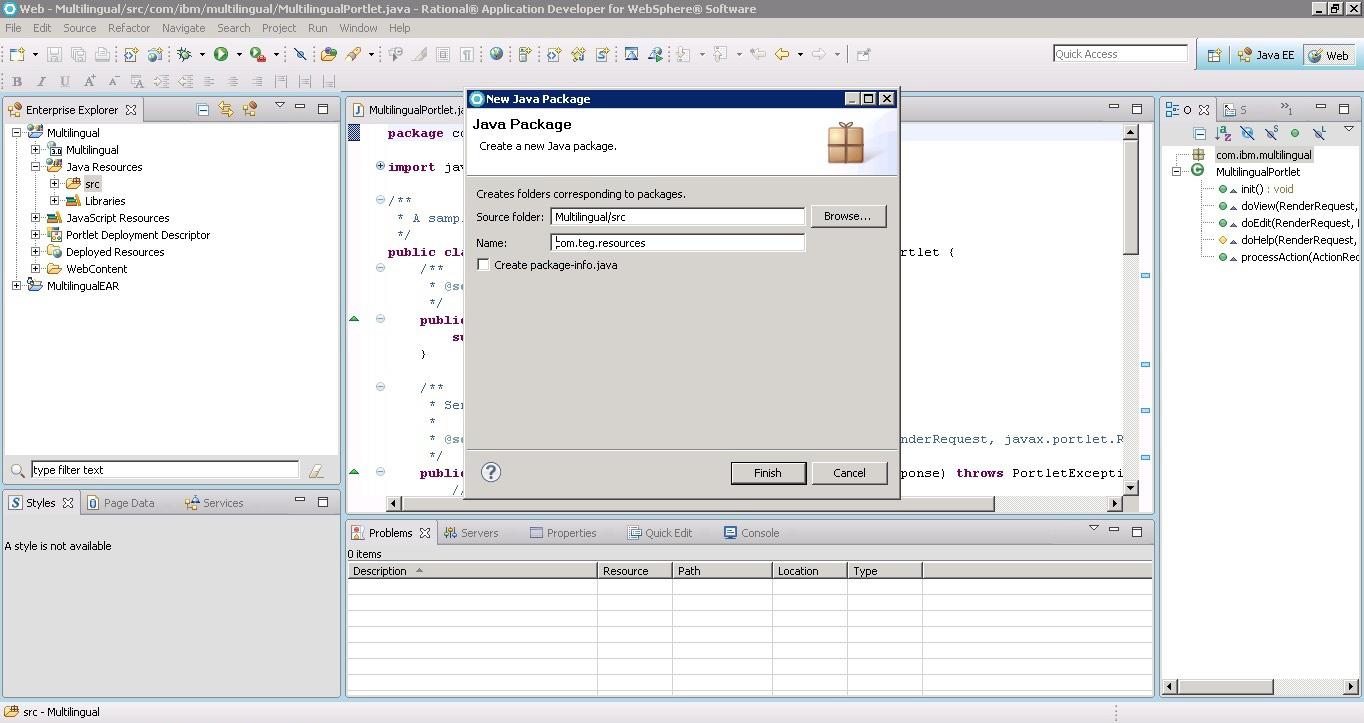 Рисунок 5. Создание нового пакета с именем com.teg.resource