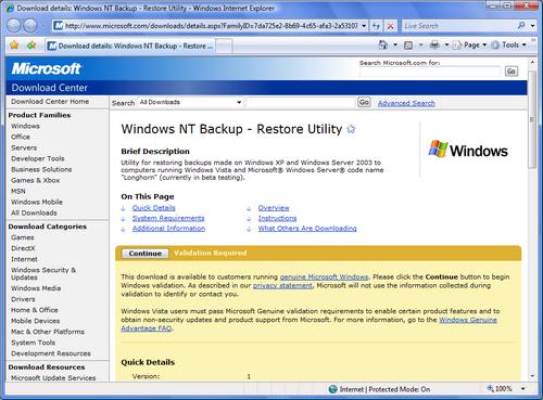 Windows NT Backup.