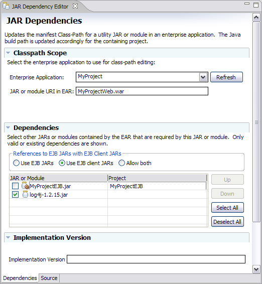 image of the JAR Dependency Editor