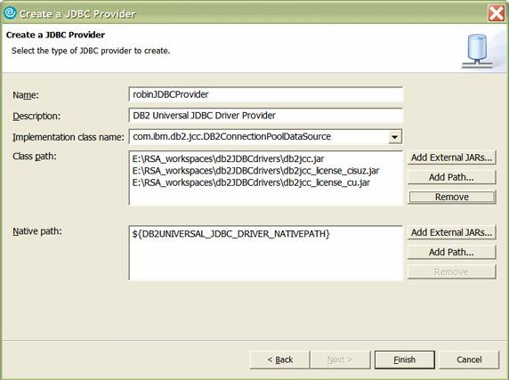 Рисунок 28. Создание JDBC-провайдера (2 из 2)