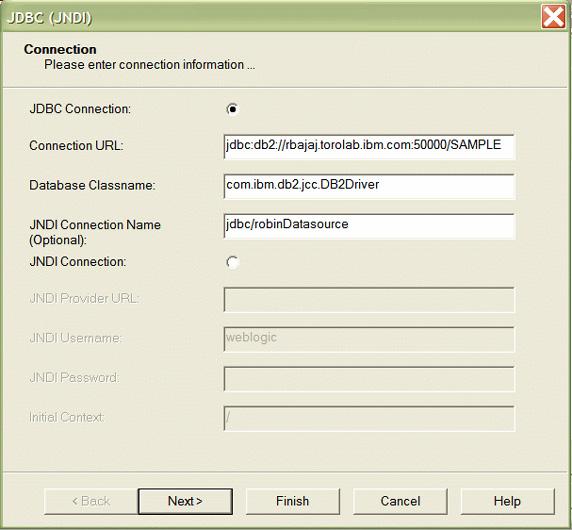 Рисунок 31. Диалоговое окно JDBC (JNDI) с дополнительной информацией по источнику данных