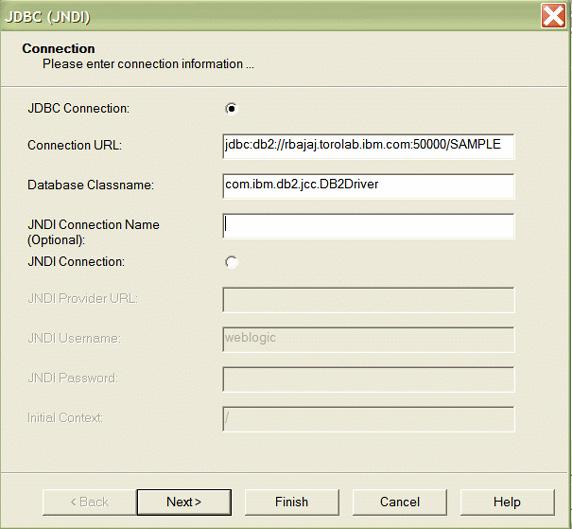 Рисунок 32. Диалоговое окно установок JDBC (JNDI)