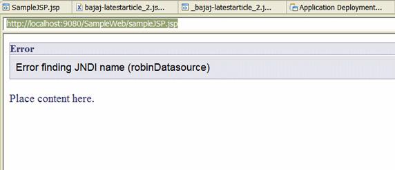 Рисунок 36. Ошибка Error finding JNDI Name