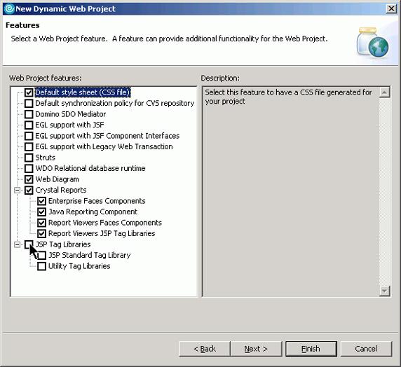 Рисунок 6. Диалоговое окно свойств Web Project Features