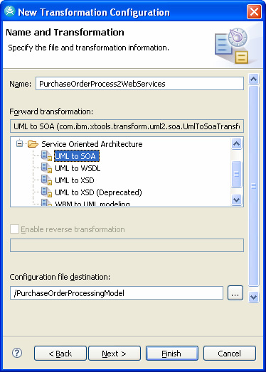 Selecting the UML-to-SOA transformation